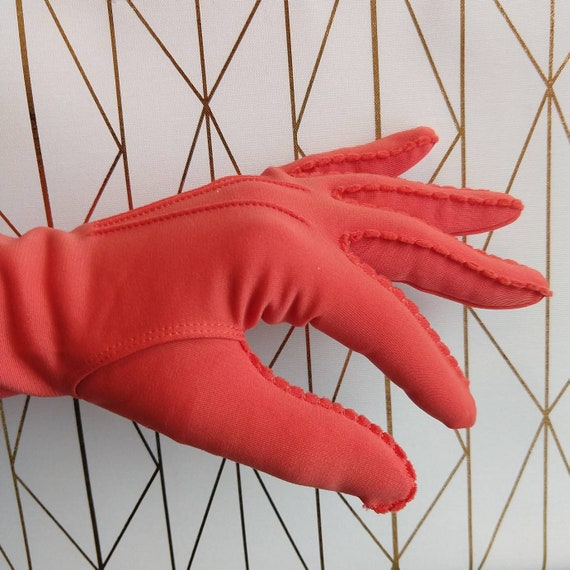 kayser BRIGHT CORAL GLOVES 1950s 1960s