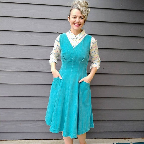 AQUA 50's CORDUROY DRESS fit and flare vicky vaugh