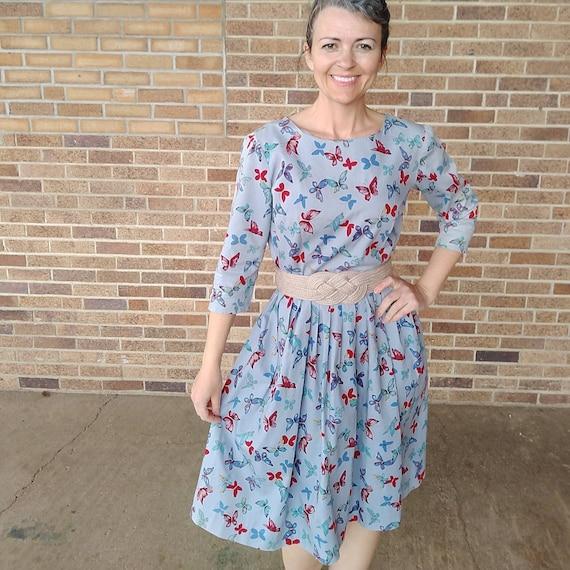 BLUE BUTTERFLY DRESS full skirt cotton 50's 60's 2