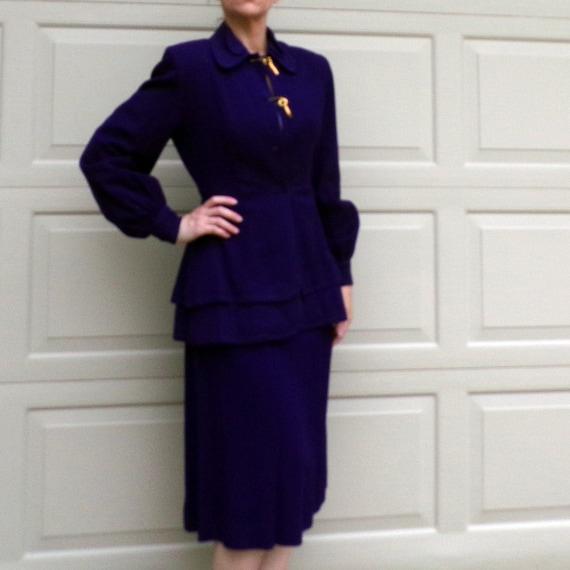 ROYAL PURPLE wool skirt SUIT 40's 1940's S - image 2