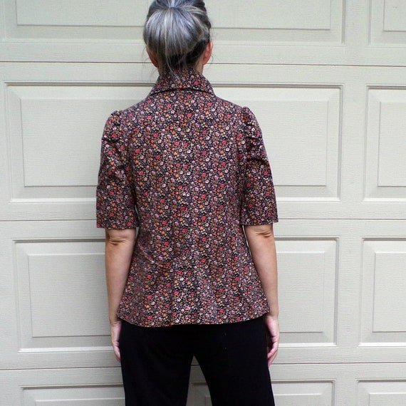 FLORAL TWILL JACKET art smock utility 70's does 3… - image 9