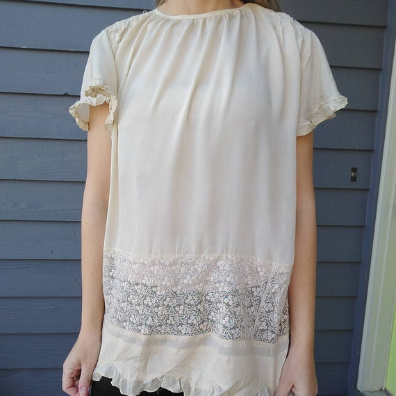 1920's SILK FLOAT BLOUSE 20's ivory