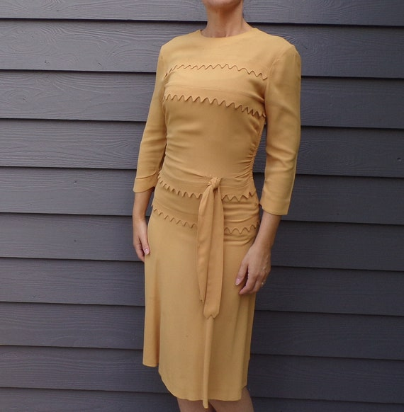 MUSTARD CREPE DRESS 1930's 1940's xs