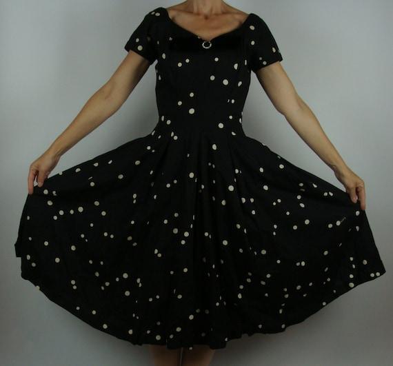 BLACK POLKA DOT 50's full skirt jerry gilden dress