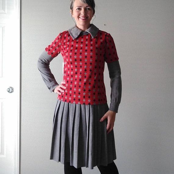 MOD LATE 1960's DRESS suit 2 piece set polka dots
