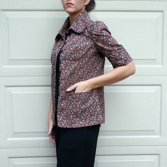 FLORAL TWILL JACKET art smock utility 70's does 3… - image 7