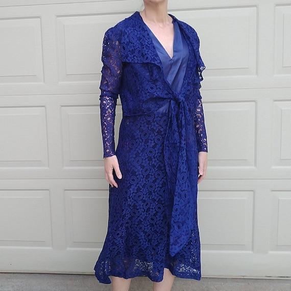 DEEP BLUE LACE 1920s 20s dress M L (E10)