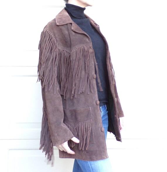 BROWN fringed SUEDE LEATHER jacket fringe 1970's 7