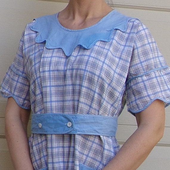 1930's COTTON DAY DRESS 30's M (B9)