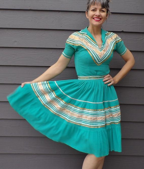 TURQUOISE aqua PATIO DRESS set full skirt 1950's x