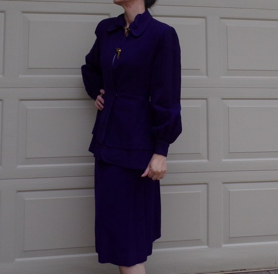 ROYAL PURPLE wool skirt SUIT 40's 1940's S - image 4