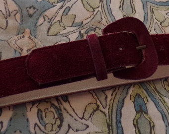 BURGUNDY SUEDE BELT vintage leather xs 25 to 28 waist