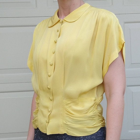 BUTTER YELLOW 1940's 1950's BLOUSE M L (F9) - image 3