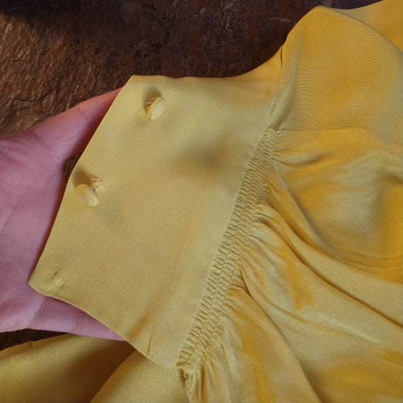 BUTTER YELLOW 1940's 1950's BLOUSE M L (F9) - image 8