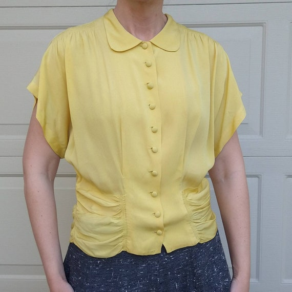 BUTTER YELLOW 1940's 1950's BLOUSE M L (F9) - image 7