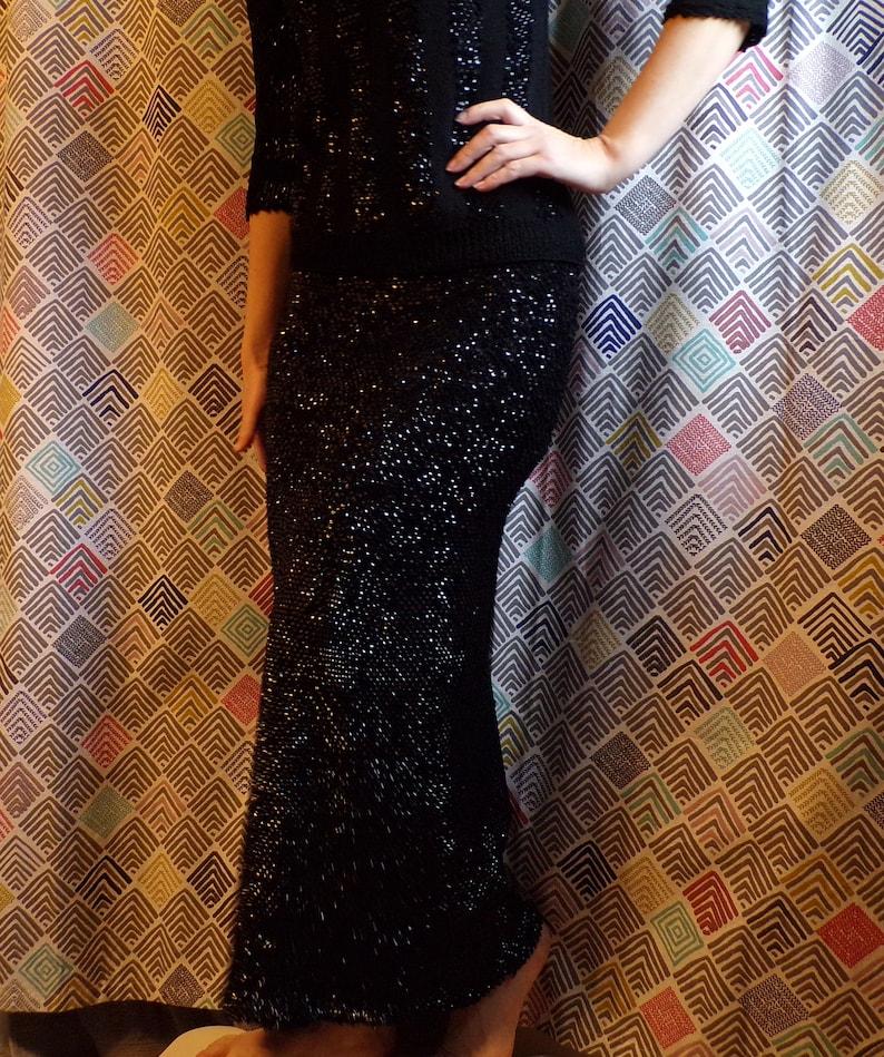 BLACK SEQUIN maxi SKIRT or tube dress 50/'s 60/'s xs S M K5