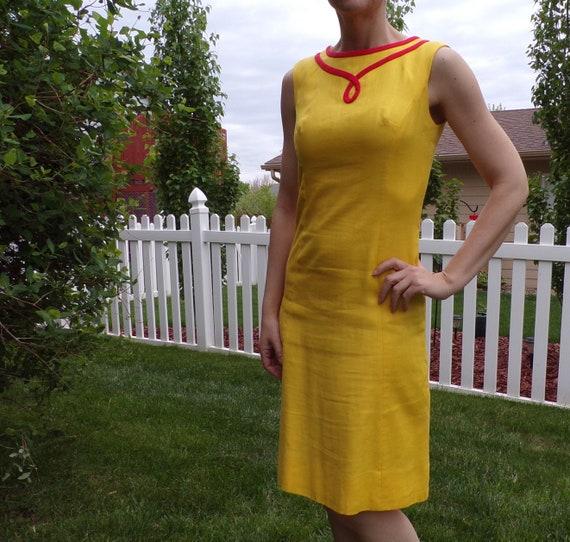 bright yellow MOD SHIFT DRESS sleeveless summer S - image 2