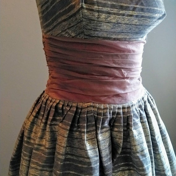 STRIPED PARTY DRESS midcentury prom dress 50's 60… - image 5