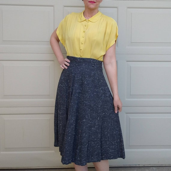BUTTER YELLOW 1940's 1950's BLOUSE M L (F9) - image 5