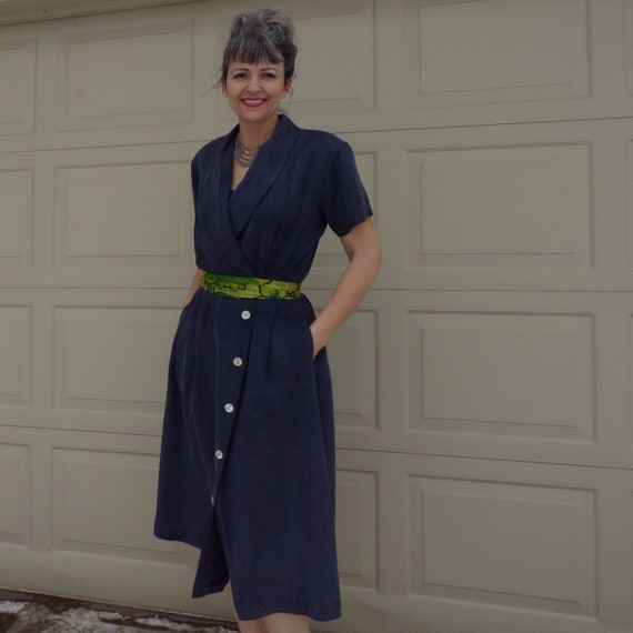 WASHED SILK 1990's does 1940's DRESS with pockets