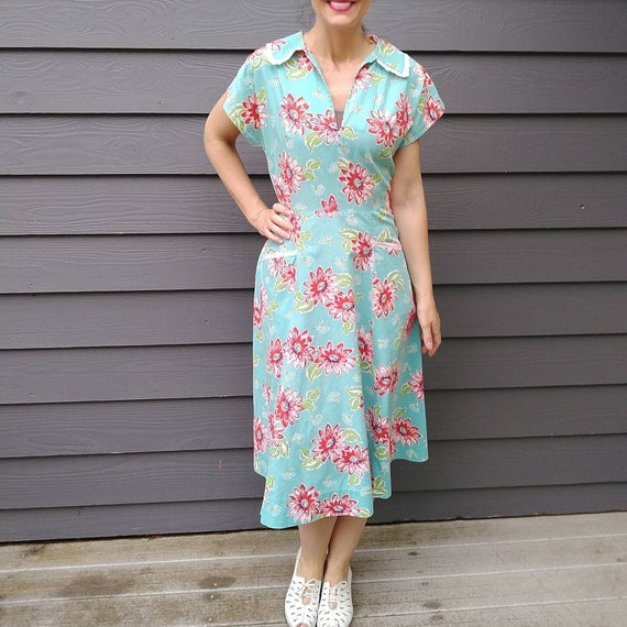 1950s WRAP DAY DRESS floral 50s M (B4)