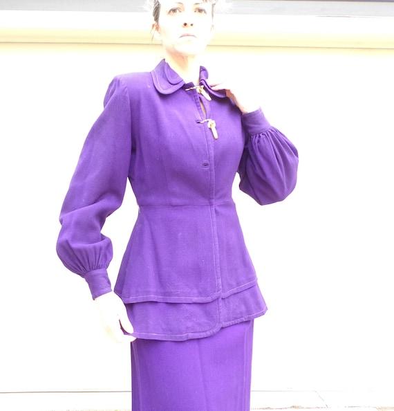 ROYAL PURPLE wool skirt SUIT 40's 1940's S
