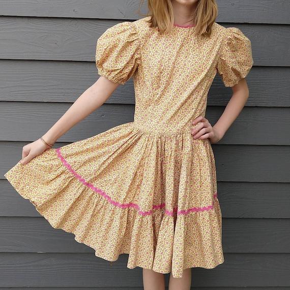 CALICO PRAIRIE DRESS puff sleeves xxs xs teen