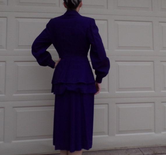 ROYAL PURPLE wool skirt SUIT 40's 1940's S - image 10
