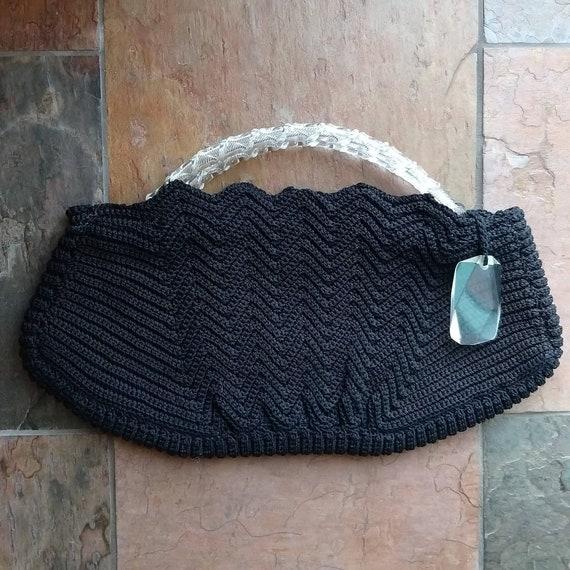 BLACK CORDE HANDBAG purse lucite handles 1940s 19… - image 3
