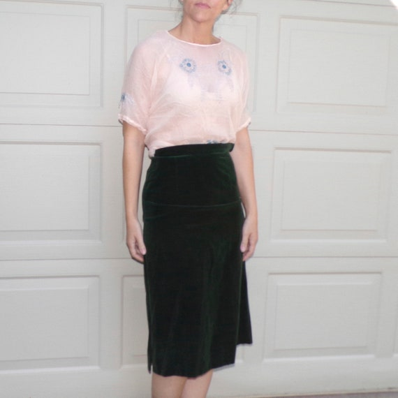 1920's SHEER SILK BLOUSE embroidered 20's S (F6)