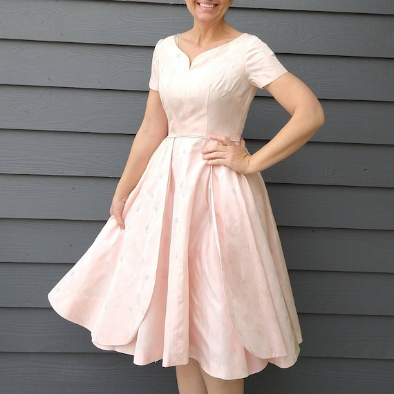 PEACHY PINK party DRESS 1950's 1960's xs