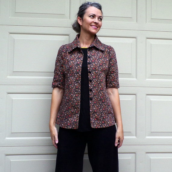 FLORAL TWILL JACKET art smock utility 70's does 3… - image 2