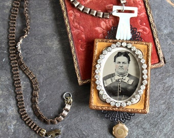 """Tintype assemblage necklace """"A face only a mother could love"""" steampunk memento mori gothic goth antique photo locket vintage jewelry"""