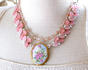 Porcelain brooch Necklace antique Creams, pinks, rhinestone, Coro, bridal wedding double strand, porcelain brooch pendant, jewelry, stunning