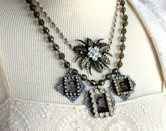 Gem Tintype memento mori necklace antique assemblage vintage jewelry gothic mourning brooch early photography victorian steampunk statement