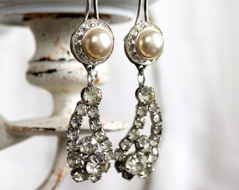 Vintage Button and rhinestone assemblage earrings formal evening antique jewelry retro up cycled long drop