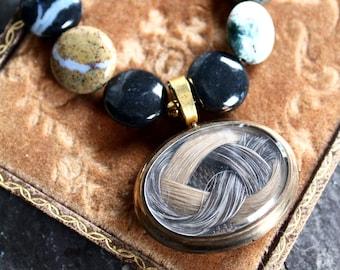 Memento Mori Mourning brooch pendant Victorian woven hair remembrance assemblage jewelry necklace steampunk black zebra jasper statement