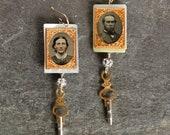 Tin type Earrings gem tin...