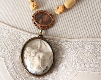Our Lady Lourdes Dance Card Assemblage Marseilles locket Elegant necklace Vintage jewelry Devotional religious spiritual antique Catholic