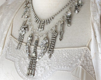 Classic Bridal Rhinestone Statement Necklace Assemblage  wedding formal antique vintage victorian jewelry  by oldnouveau little black dress