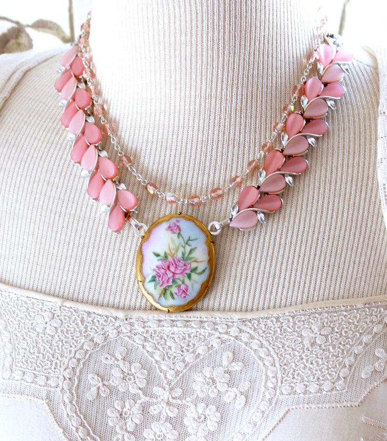 Porcelain brooch Necklace antique Creams pinks rhinestone image 1