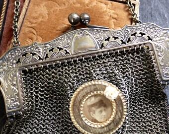 Chatelaine bag antique metal mesh floral frame evening handbag german silver hallmark kiss lock fringe chain link angel child assemblage
