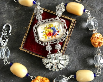 Glass intaglio brooch assemblage necklace  antique pendant vintage jewelry  hand painted flowers reverse carved  victorian  by oldnouveau