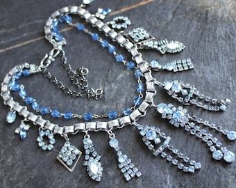 Ice blue rhinestone earring Necklace, Bridal Wedding statement assemblage jewelry vintage antique gorgeous repurposed cycled multi-strand