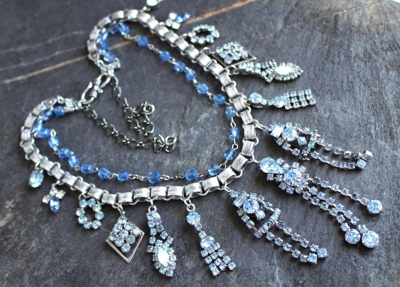 Ice blue rhinestone earring Necklace Bridal Wedding statement image 1