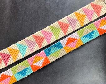 On sale! Geometric pattern bead loom bracelet happy colors choose one