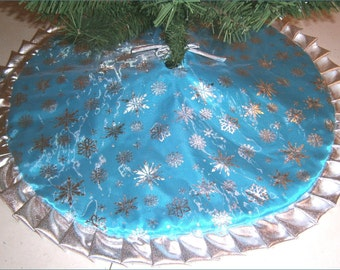 tapered pencil christmas tree skirt 32 icy turquoise with silver snowflakes - Teal Christmas Tree Skirt