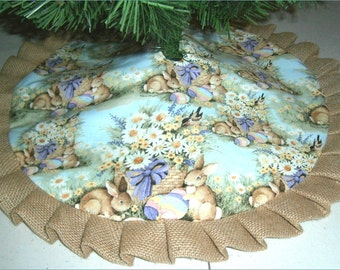 "Easter Tabletop Tree Skirt ~ 24"" ~ Rabbits on Light Teal with Burlap Ruffle"