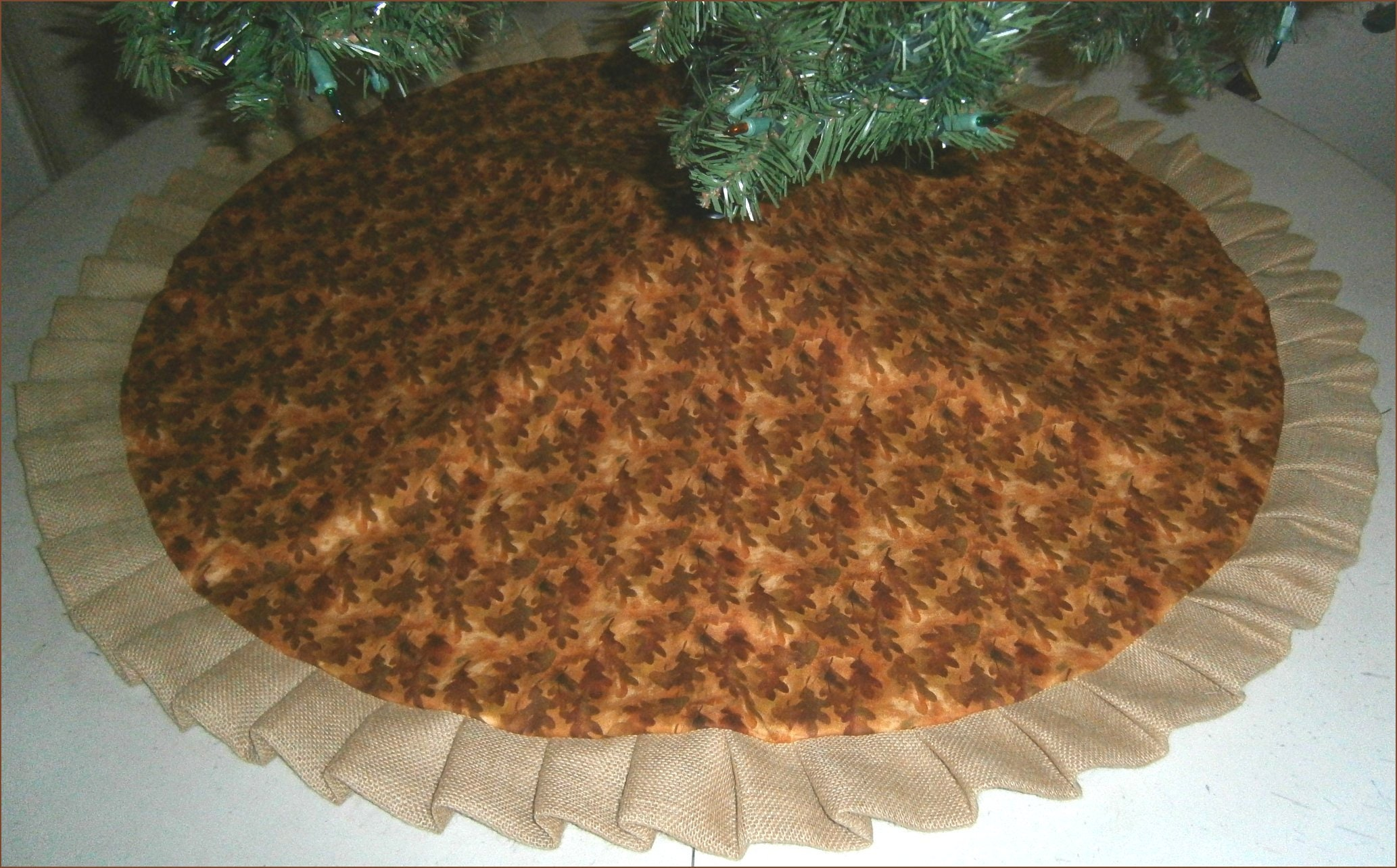 Autumn Fall Tree Skirt 47 Leaves with Burlap
