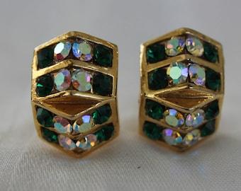 Emerald Green and Aurora Borealis Rhinestone Earrings